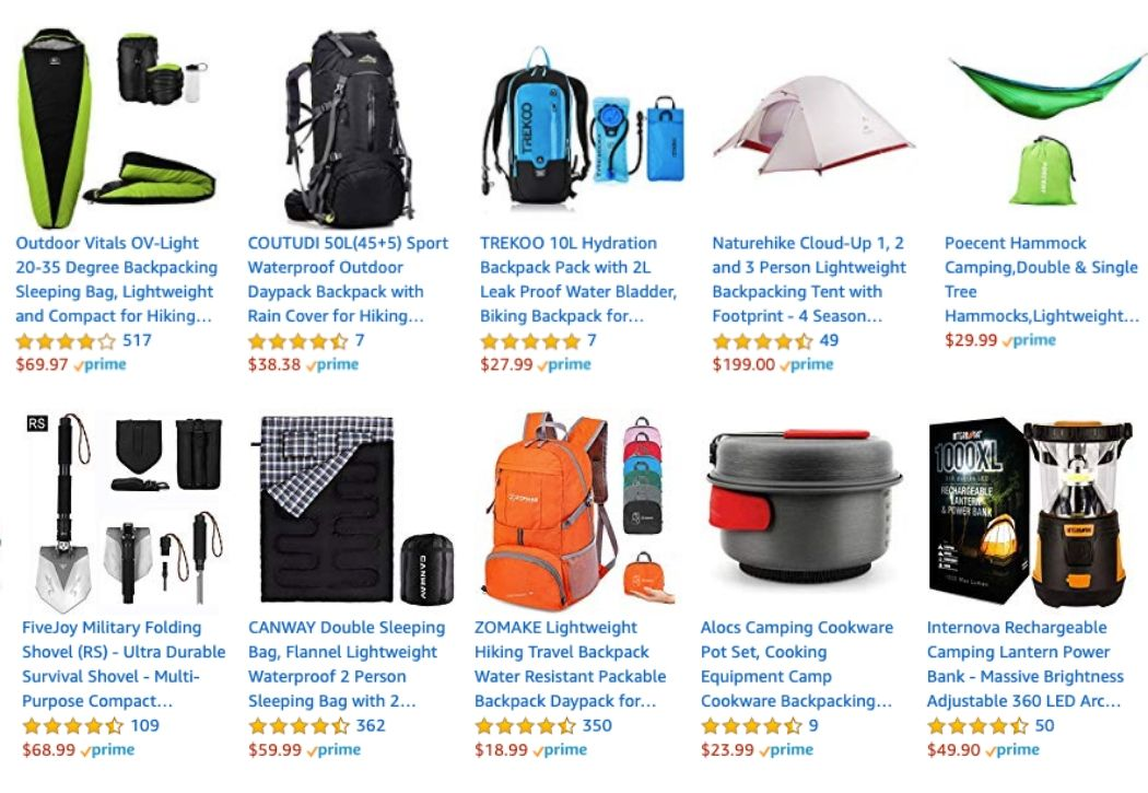 Amazon Affiliate Program Review - Hiking Backpacks and Camping Accessories from Amazon