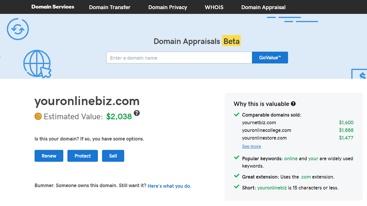 Best Domain Name Providers - Domain Appraisals Tool: GoDaddy