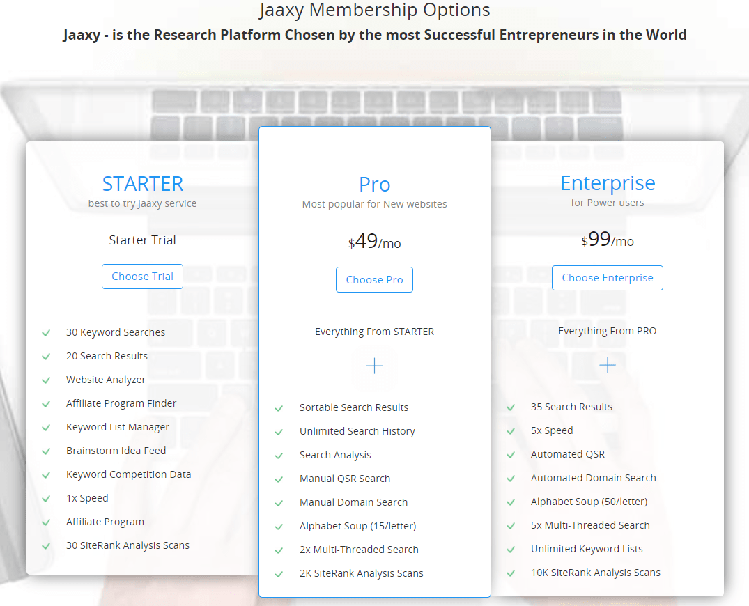 Jaaxy Keyword Research Tool Review - Jaaxy Membership Options