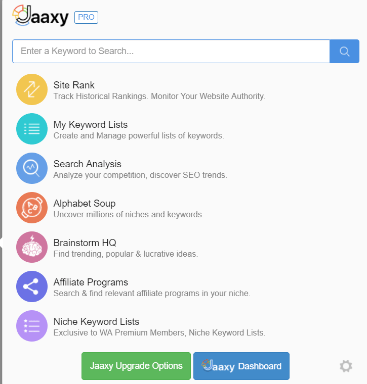 Jaaxy Keyword Research Tool Review - Jaaxy Menu